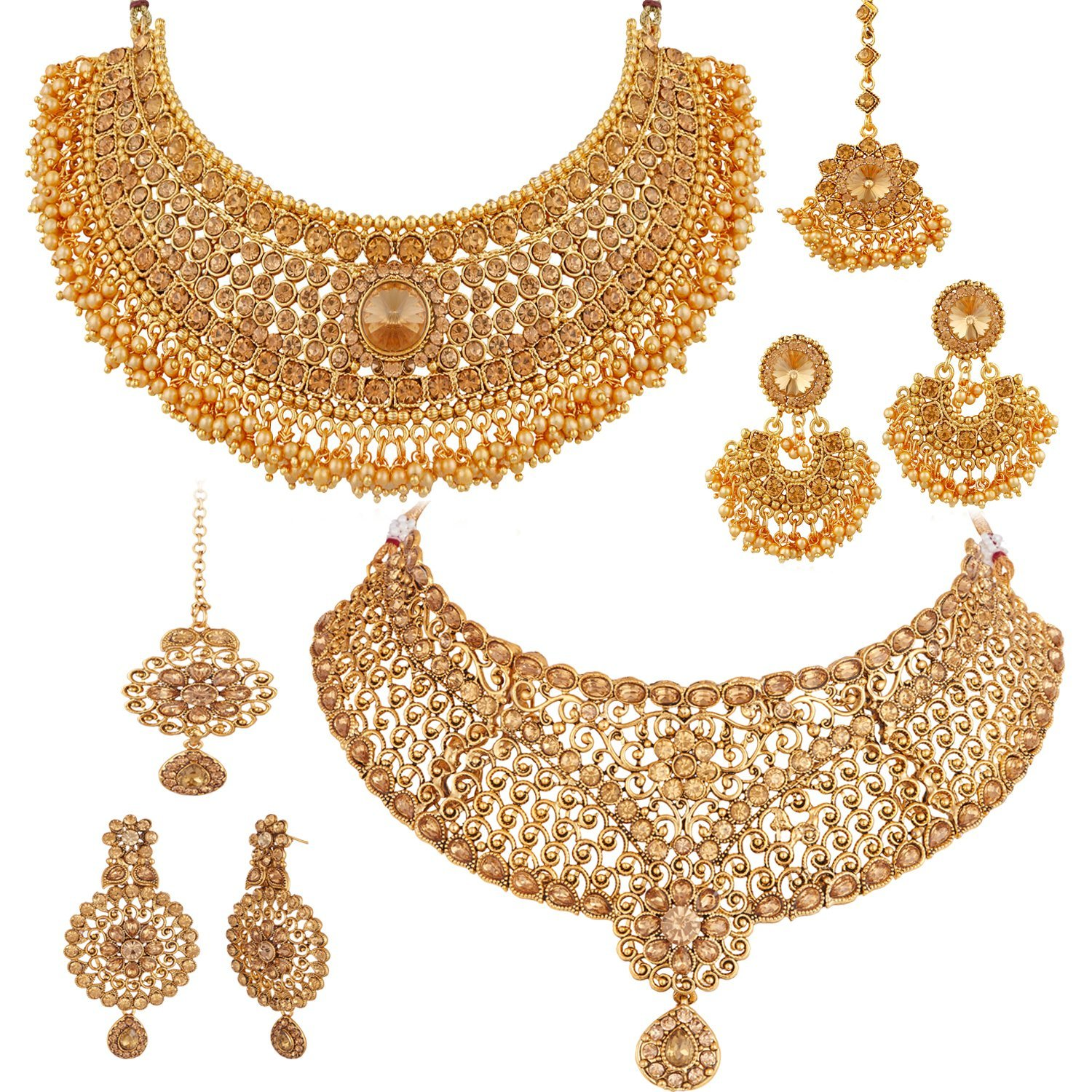 Apara Sparkling Gold Plated LCT Necklace Jewellery Set Combo for Women Rs.550 - Amazon