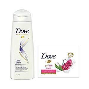 [LD] Dove Daily Shine Shampoo, 340ml with Go Fresh Revive Beauty Bar, 100g (Pack of 3)- Amazon