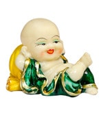Yellow & Green Polyresin Laughing Buddha Idol by Forever- Pepperfry