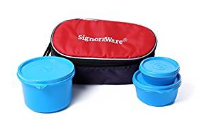 Signoraware Rainbow Lunch Box with Bag, Blue- Amazon