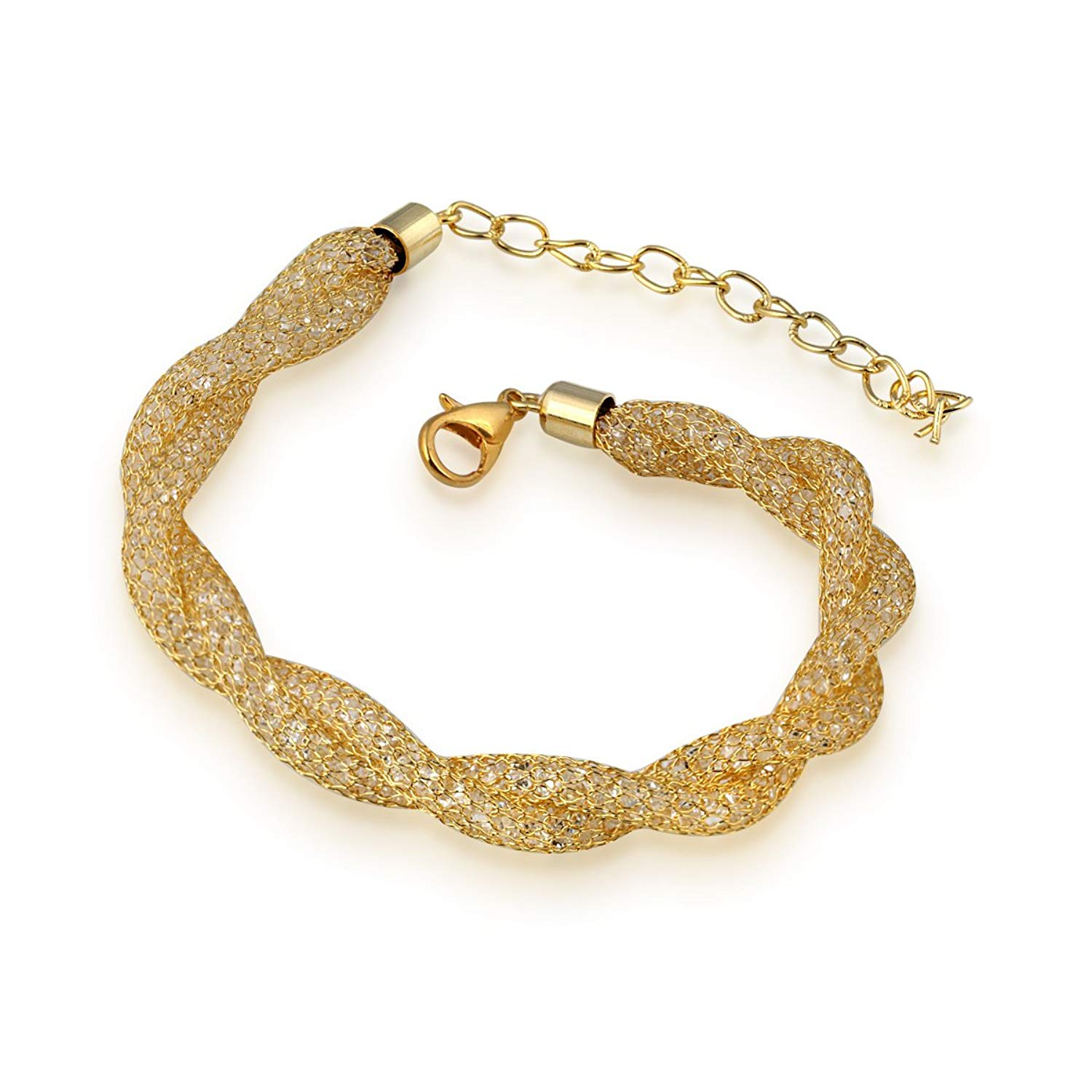 Spargz Stardust Design Gold Plated Mesh Net Crystal Stone Filling Lobster Claw Bracelets AIBR_056- Amazon