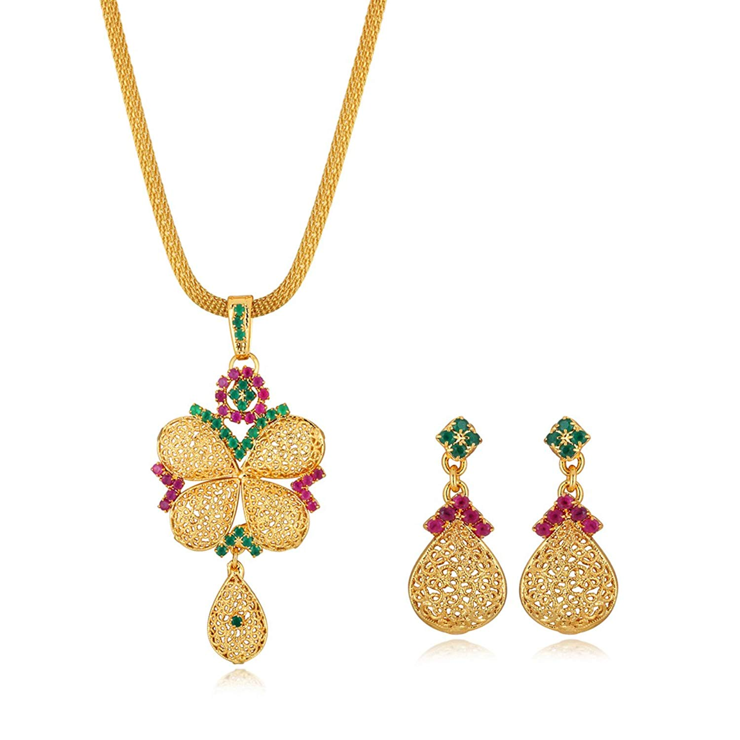 Spargz Floral Gold Plating CZ Diamond Pendant Necklace and Drop Earrings- Amazon