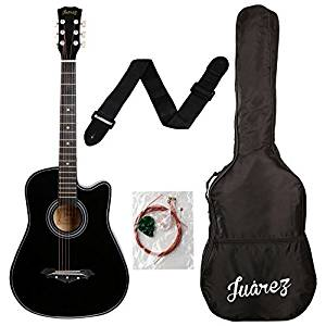 Juarez Acoustic Guitar, 38 Inch Cutaway, 038C With Bag, Strings, Pick And Strap, Black- Amazon