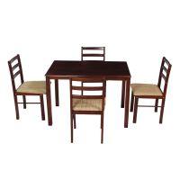 Woodness Winston Solid Wood Upholstered 4 Seater Dining Table Set (Wenge)- Amazon