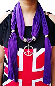 Nimble House Metal Ringed Adjustable Necklace Jewelry Pendant Light Weight Scarf(180cm-purple)- Amazon