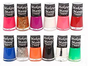 Makeup Mania Trendy Colors Nail Polish Enamel Combo (Multicolor No.73, Pack of 12)- Amazon