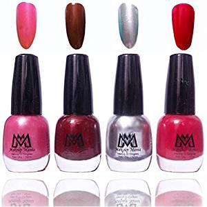 Makeup Mania Premium Nail Polish Exclusive Nail Paint Combo (Silver, Pink, Red, Pack of 4)- Amazon