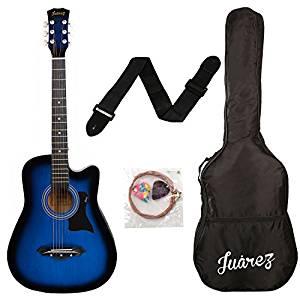 JUAREZ JRZ38C Right Handed Acoustic Guitar (Blue Sunburst, 6 Strings)- Amazon