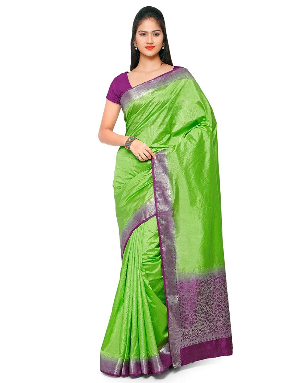 Varkala 100% Raw Silk Sarees with Blouse Piece- Amazon