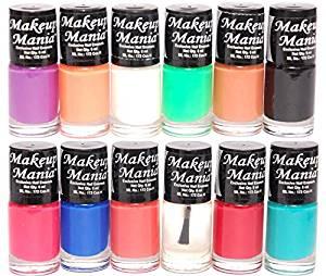 Makeup Mania Nail Polish Set Combo (Purple, Orange, White, Green, Nude, Black, Blue, Red, Turquoise, Pack of 12)- Amazon