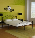Bari Metallic Queen Size Bed in Black Finish by FurnitureKraft- Pepperfry