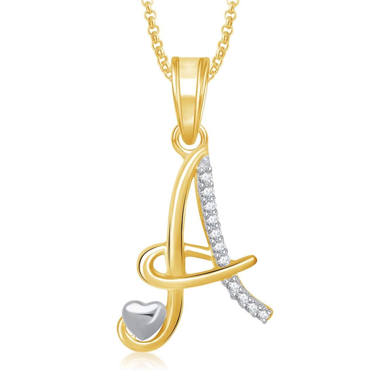 Meenaz Jewellery Gold Plated 'A' Letter Pendant For Women- Amazon