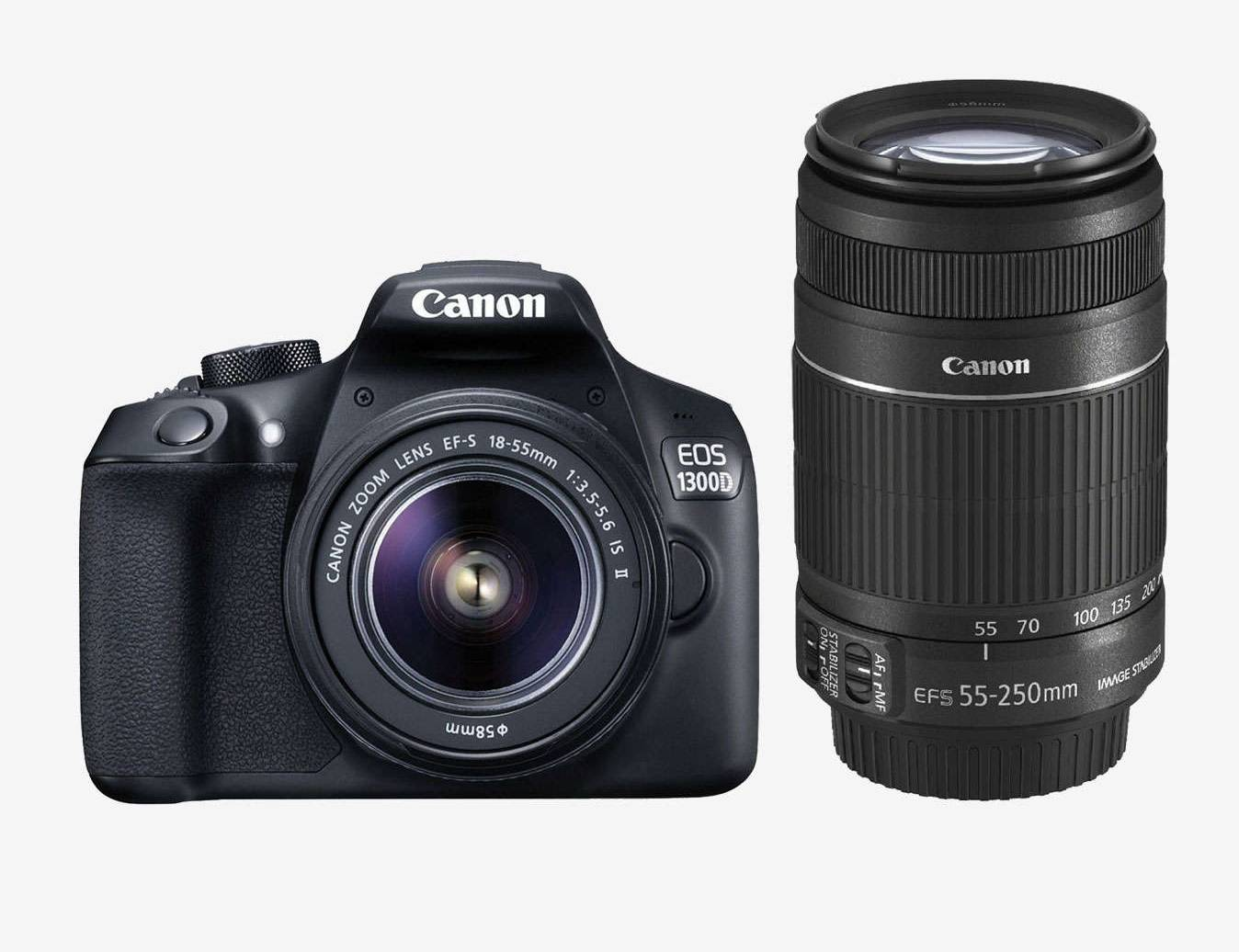 Canon EOS 1300D (EF S18-55 IS II & 55-250 Lens) DSLR Camera