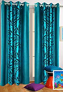 Homefab India Kolaveri 2 Piece Eyelet Polyester Door Curtains - 7ft, Aqua- Amazon