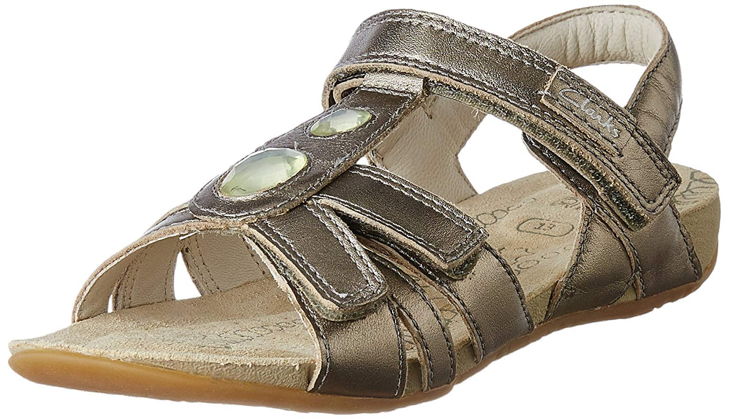 (Size 2.5Kids) Clarks Girl's Leather Fashion Sandals- Amazon