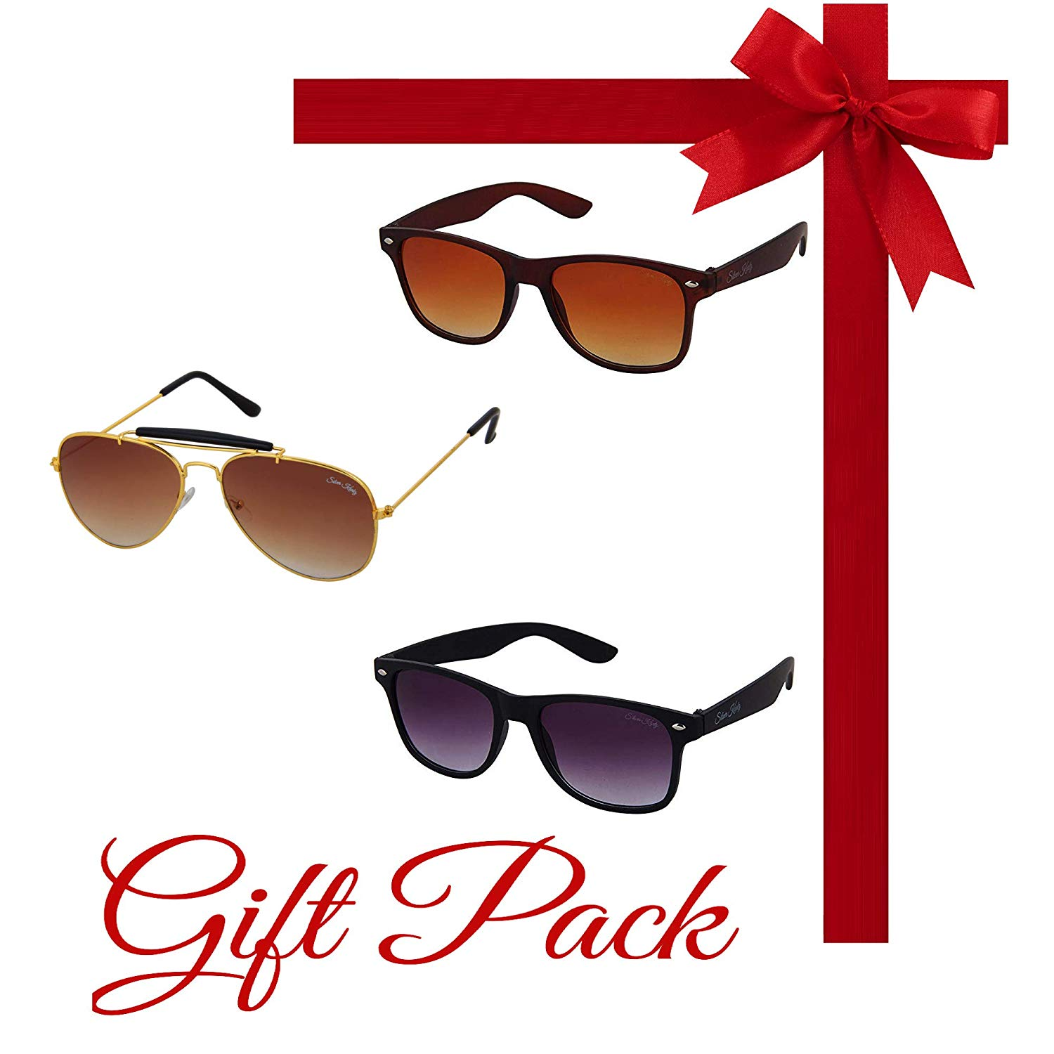 e26ac093ab Silver Kartz Gift Pack of Best Selling Combo of 3 Aviator and Wayfarer UV  Protection Sunglasses Offer on Amazon India