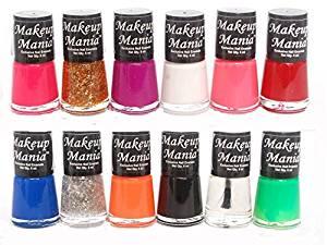 [LD] Makeup Mania Trendy Colors Nail Polish Enamel Combo (Multicolor No.73, Pack of 12)- Amazon
