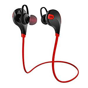 CHKOKKO QY7 Wireless Bluetooth Earphones with Mic(Red)- Amazon