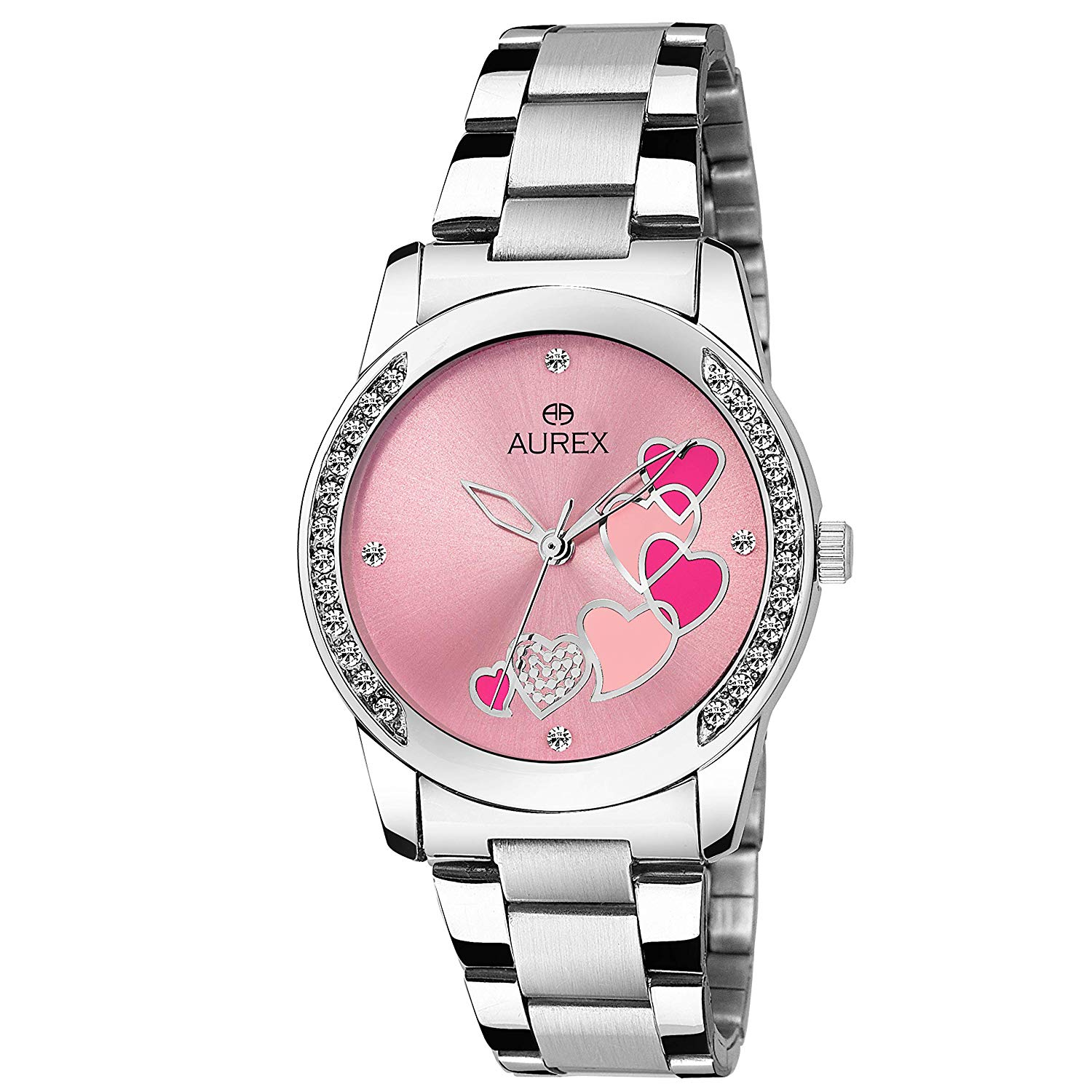 [LD] Aurex Analouge Pink Dial Watch Wa...