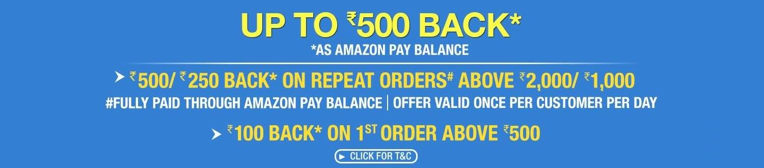 Amazon Now: 500/250 cashback on repeat orders above Rs 2000/1000 + 100 back on 1st order above 500