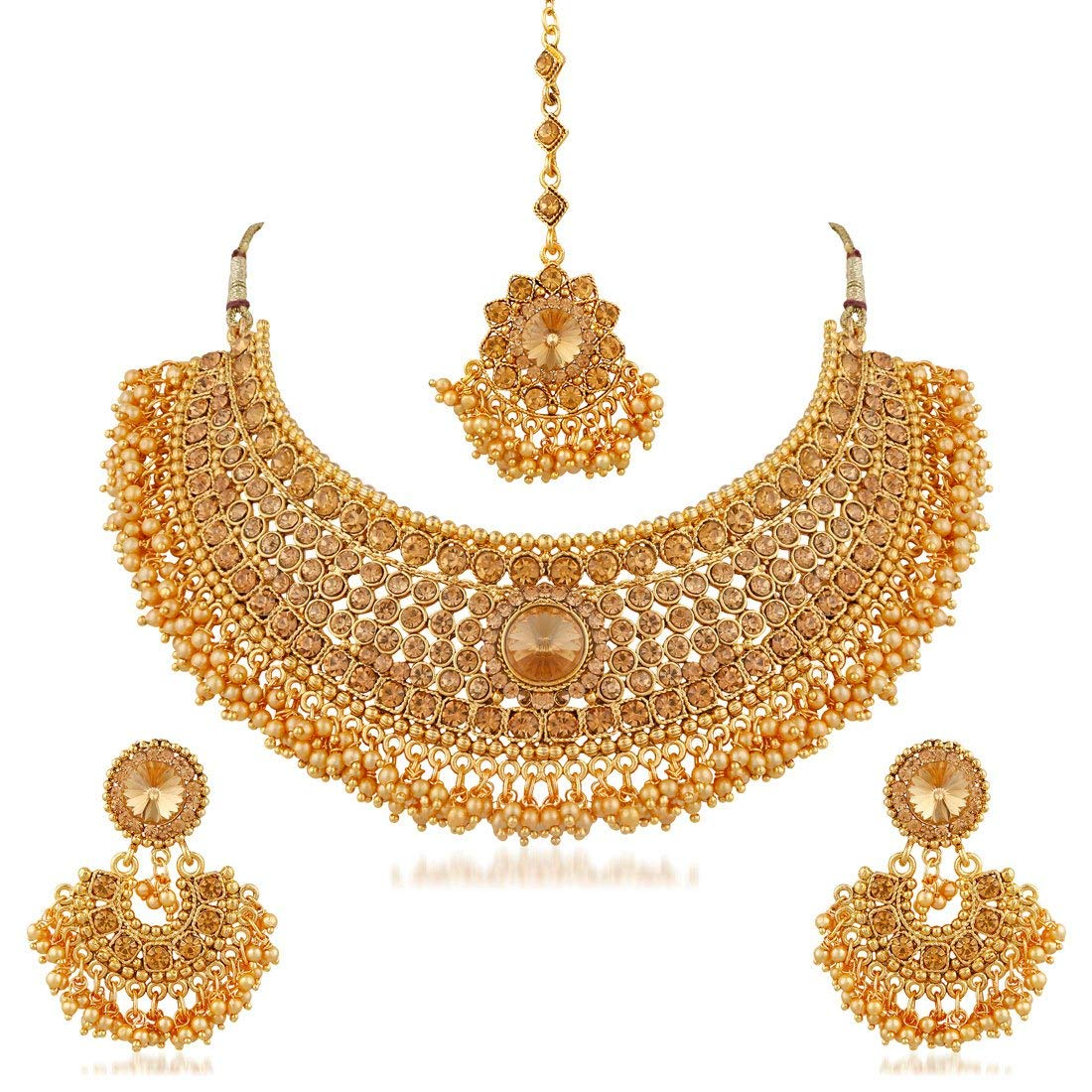 Apara Semi Bridal LCT Pearl Maang Tikka Jewellery Necklace Set- Amazon