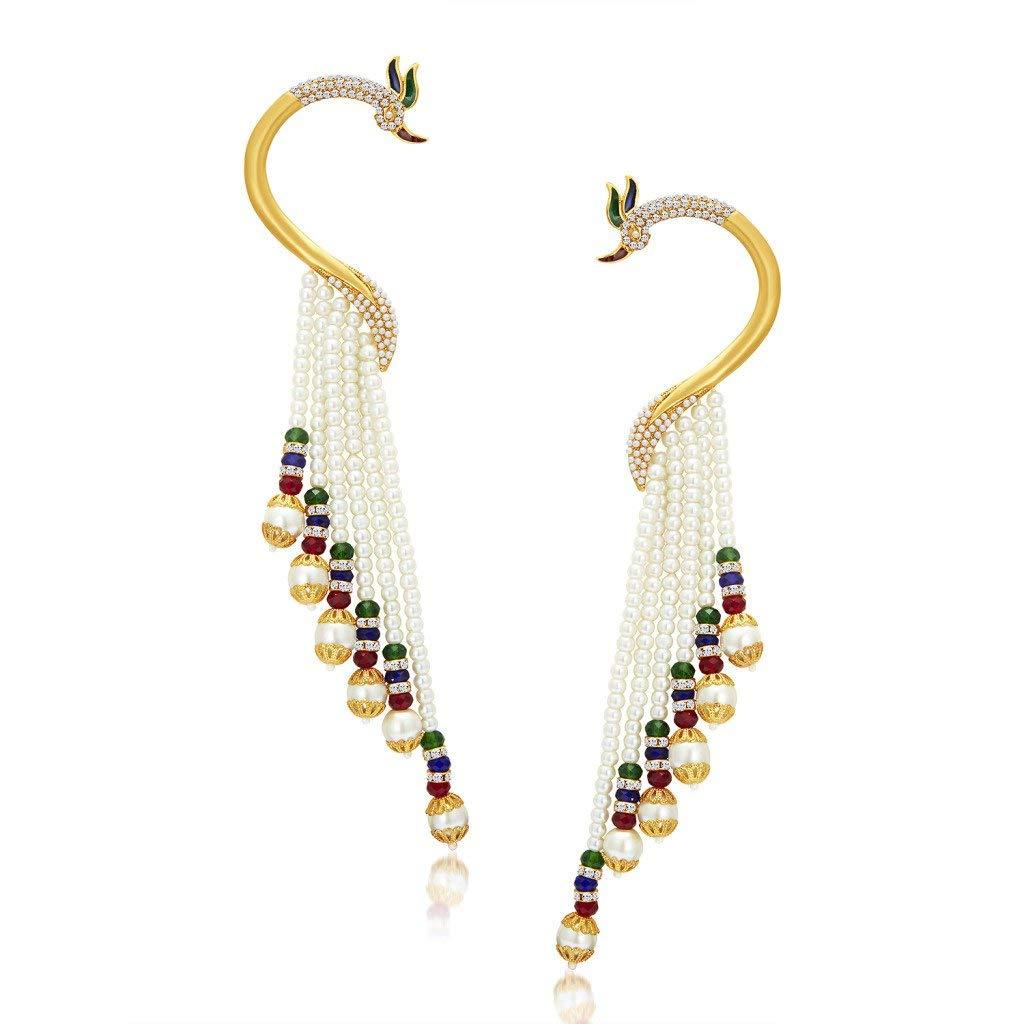 Sukkhi Wedding Jewellery Ear Cuff Earrings For Women (Golden) (38036ECGLDPP850)- Amazon