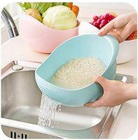MosQuick® Big Size Plastic Grains & Vegetables Washing Bowl & Strainer (Blue)- Amazon
