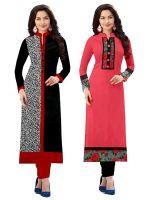 Pramukh Fashion Semi Stichead Pack of 2 Kurtis Combo(1002.1017 a)- Amazon