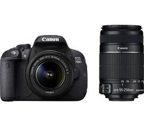 Canon EOS 700D (With EF S18-55 IS II + 55-250 mm IS II Lens) 18 MP DSLR Camera (Black) + Carry Case + 8GB SD Card