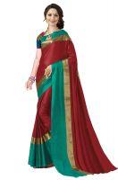Art Decor Sarees Women's Red Apple Silk Saree With Blouse Piece- Amazon