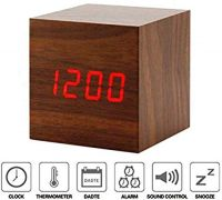 Wooden Multifunctional LED Digital Alarm Clock with Tempretature- Amazon