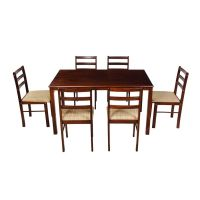 [Rs. 1000 Back] Woodness Winston Solid Wood Upholstered 6 Seater Dining Table Set (Wenge)- Amazon
