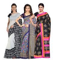 Set of 3 Oomph! Women's Raw Silk Printed Sarees- Amazon