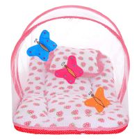 Littly Butterfly Design Cotton Bedding Set with Foldable Mattress, Mosquito Net and Pillow (Red)- Amazon