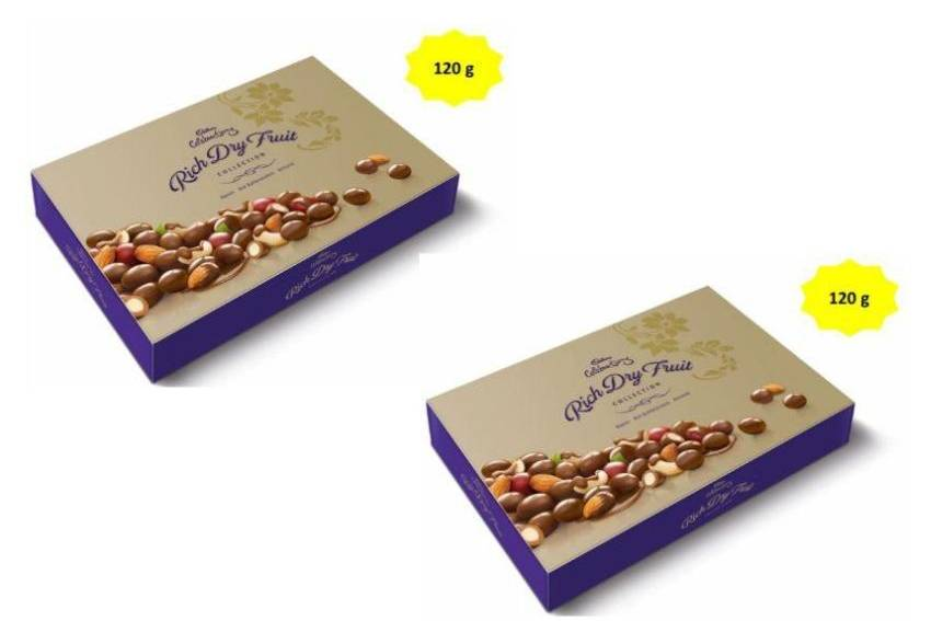 Cadbury Celebrations Chocolate Covered Nuts Rich Dry Fruit Chocolate Gift Pack 120 gm -(Pack of 2)