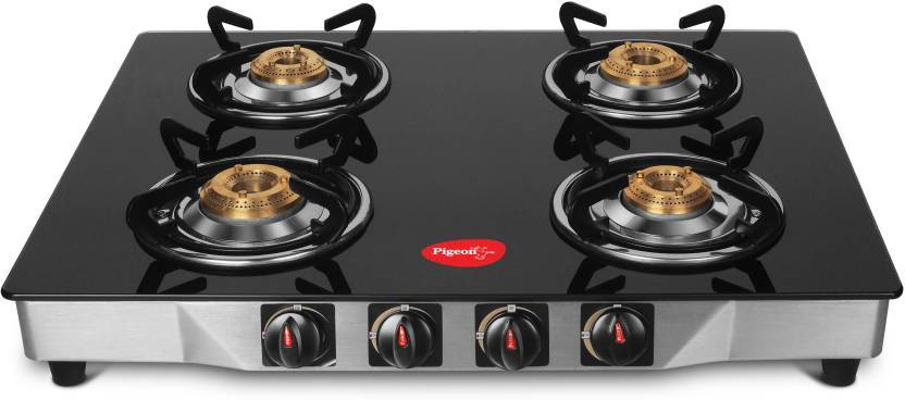 Pigeon Ultra Glass, Stainless Steel Manual Square  Gas Stove  4 Burners -(Black)