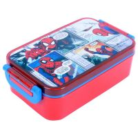 Marvel Spiderman Plastic Lunch Box Set, 450ml, 3-Pieces, Red/Blue- Amazon