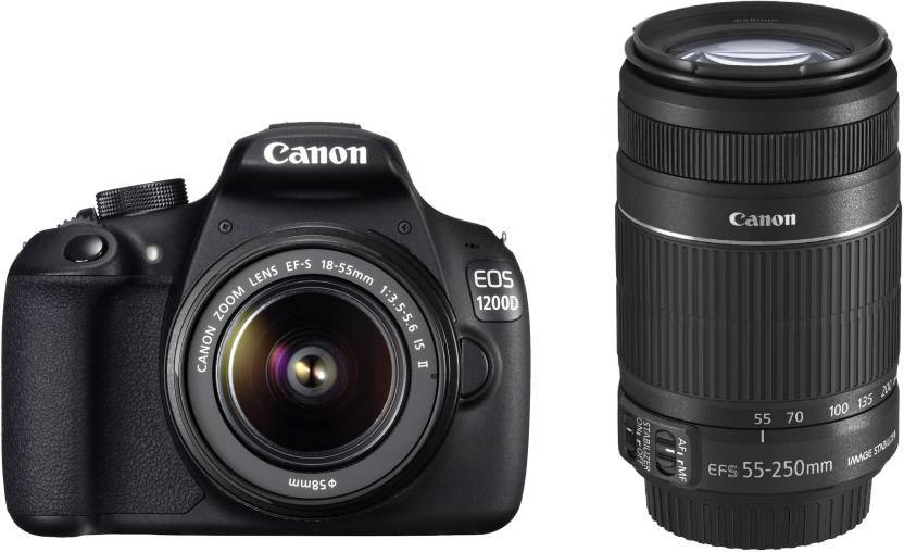 Canon EOS 1200D DSLR Camera (Body with 8 GB Card & Bag EF S18-55 IS II+55-250mm IS II)  (Black)