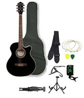 Kadence Frontier Series,Black Acoustic Guitar Super Combo Foldable Guitar Stand,Tuner,Capo,Bag,Strap,Strings And 3 Picks- Amazon