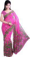 Ishin Printed Fashion Georgette Saree(Pink)- Flipkart