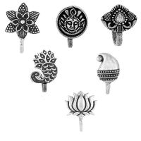 Om Jewells Silver Oxidised Immitation Jewellery Combo of 6 Classy Press on Nose Pin/Nose Ring made- Amazon