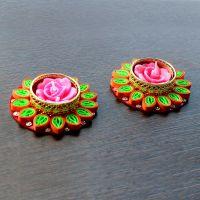 eCraftIndia Paper Quilling, Acrylic Diya Set (15 cm x 15 cm x 3 cm, Pack of 2, TDIYAPQD315)- Amazon