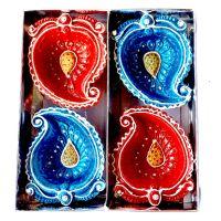 eCraftIndia Terracotta Diya Set (10 cm x 10 cm x 3 cm, Pack of 4, TDIYACD416)- Amazon