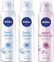 Nivea Fresh Natural & Pearl & Beauty Deodorant Combo - Pack of 3 Body Spray  -  For Women  (450 ml, Pack of 3)- Flipkart