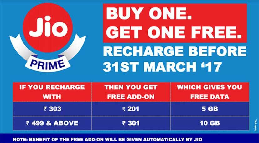 Buy one get one free offer for Jio Prime Members: Get upto 10GB additional data