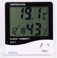 Easelife® Premium Quality Temperature Humidity Time Display Meter with Alarm Clock- Amazon