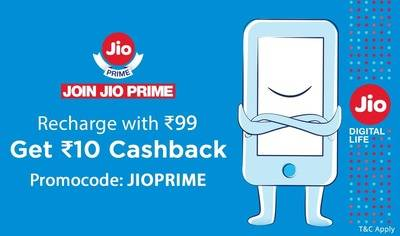 Get Rs.10 cashback on Jio Prime Recharge of Rs.99
