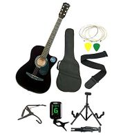 Jixing JXNG 6 Strings Acoustic Guitars Right Handed With Combo ( Black )- Amazon