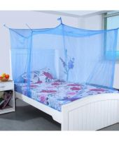 Shahji Creation King Size Single Bed Mosquito Net with Cotton Border, Blue (4x6.5 Feet)- Amazon