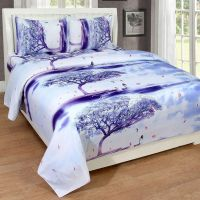 Super India 3D Printed 180 TC Polycotton Double Bedsheet with 2 Pillow Covers - White- Amazon
